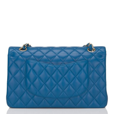View 4. Thumbnail of Lot 43. Chanel Blue Quilted Medium Classic Double Flap Bag of Lambskin Leather with Light Gold Tone Hardware.