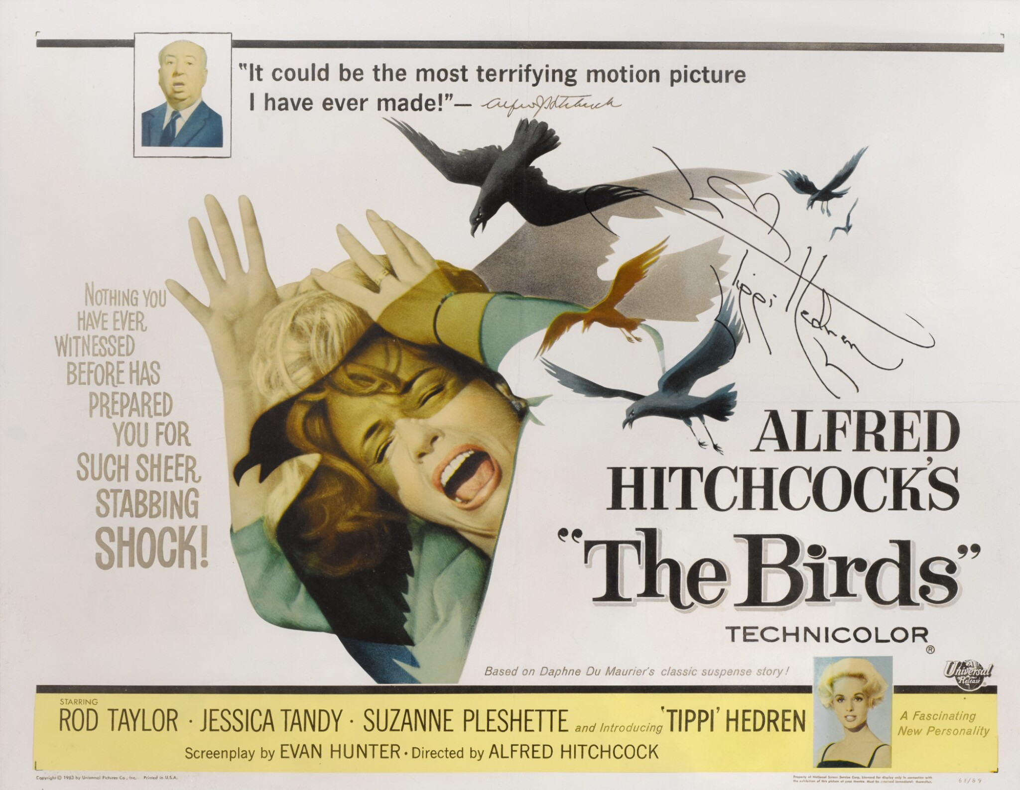 View full screen - View 1 of Lot 72. THE BIRDS (1963) SIGNED POSTER, US.