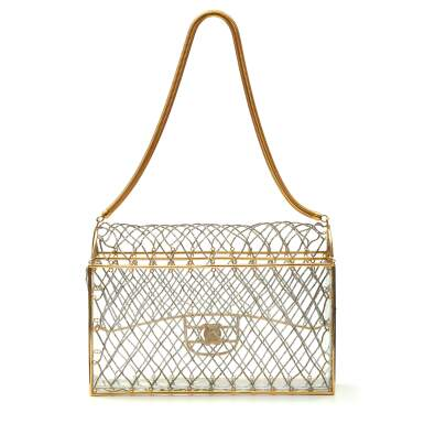 View 4. Thumbnail of Lot 359. Clear Cage Bag in Lucite with Beading, Gold Tone Frame and Chain Strap, circa 1990s.