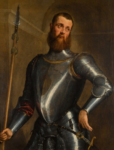 View 1. Thumbnail of Lot 63. JACOPO DA PONTE, CALLED JACOPO BASSANO  |  PORTRAIT OF A MILITARY COMMANDER IN ARMOUR, THREE-QUARTER LENGTH, WEARING A BROADSWORD AND HOLDING A PARTIGIANA.