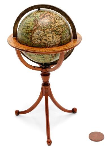 View 1. Thumbnail of Lot 292. Darton. Terrestrial pocket globe on tripod stand. 1811.