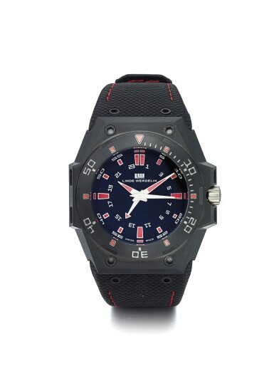 LINDE WERDELIN | BIFORMETER 2 TIMER REF B1 T1 40 A COATED STAINLESS STEEL AUTOMATIC DUAL TIME WRISTWATCH WITH DATE CIRCA 2010