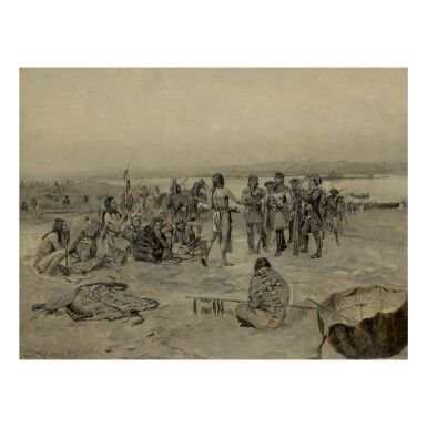 View 1. Thumbnail of Lot 48. CHARLES MARION RUSSELL |  LEWIS AND CLARK MEETING THE MANDANS (LEWIS AND CLARK EXPEDITION).