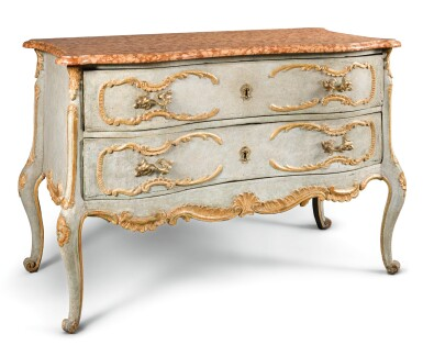 View 2. Thumbnail of Lot 19. A SOUTH GERMAN CARVED, PARCEL-GILT AND PAINTED COMMODE.