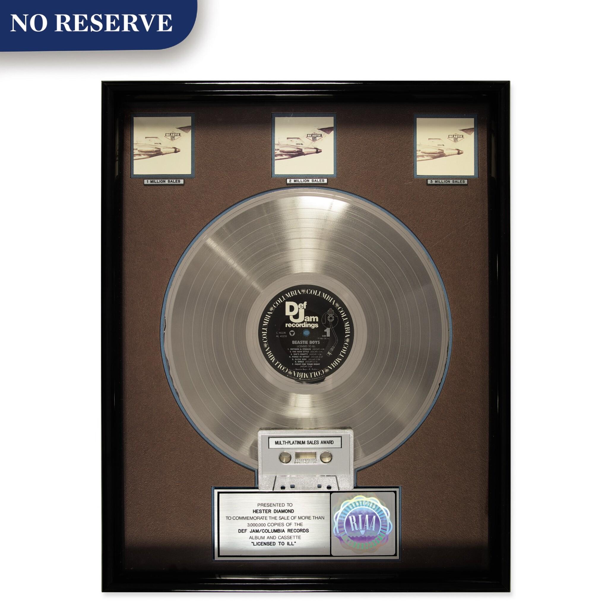 "RIAA Multi-Platinum Diamond sales award presented to Hester Diamond for the Beastie Boys 1986 album ""Licensed to Ill"""