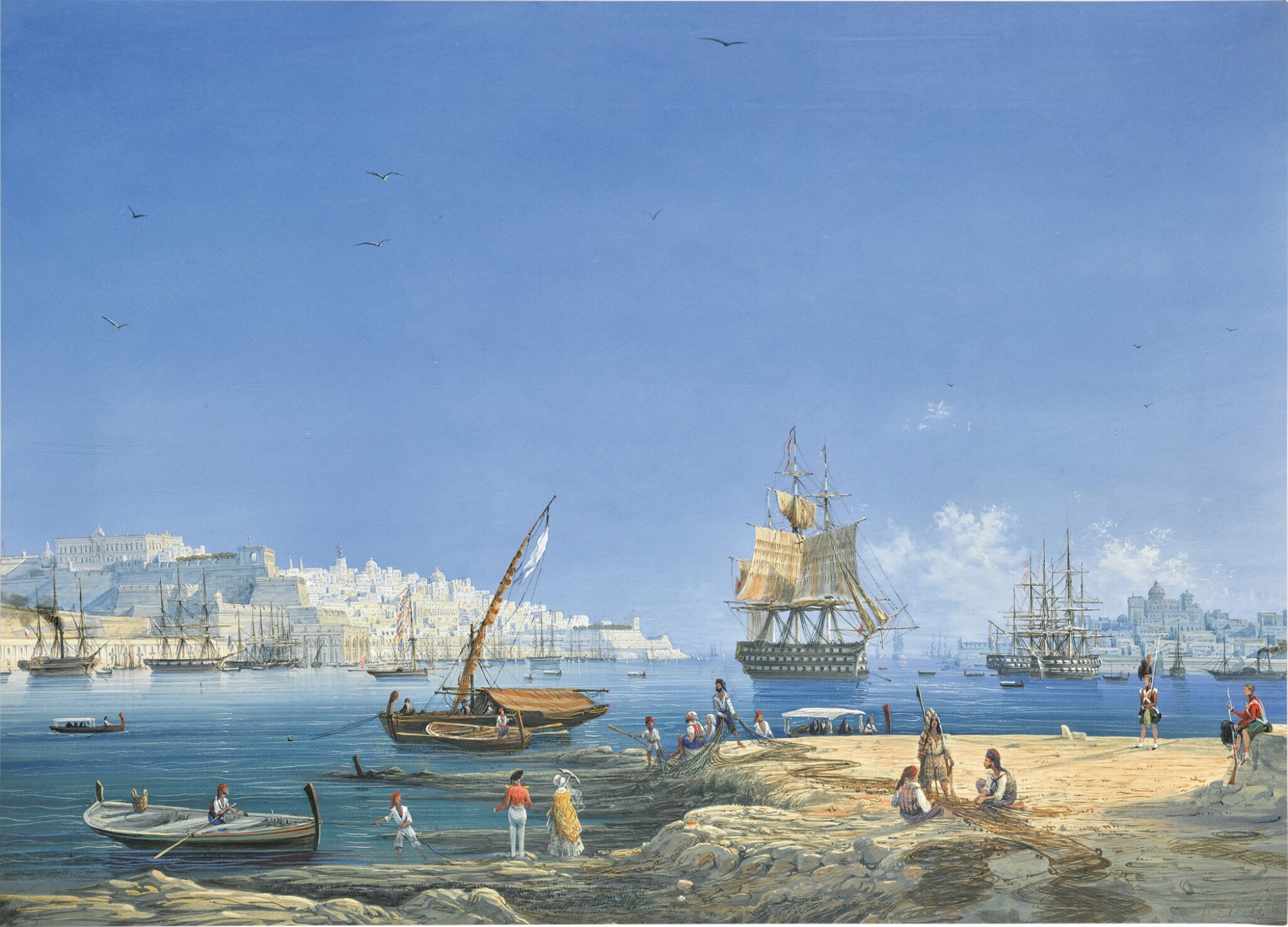 View 1 of Lot 208. Valletta, a view of the Grand Harbour.