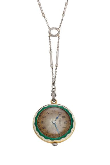 View 1. Thumbnail of Lot 395.  A yellow gold platinum enamel and diamond-set open faced watch with necklace, Circa 1925.