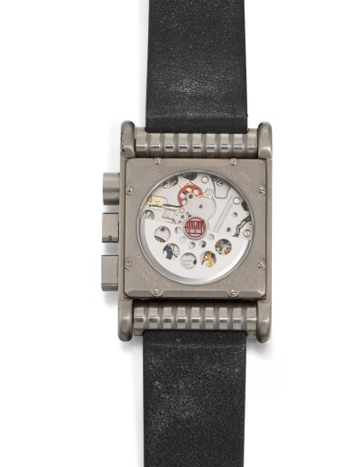View 4. Thumbnail of Lot 458. BOLIDO CHRONO LIMITED EDITION STAINLESS STEEL RECTANGULAR ANNUAL CALENDAR CHRONOGRAPH WRISTWATCH WITH MOON PHASES, CIRCA 2001.