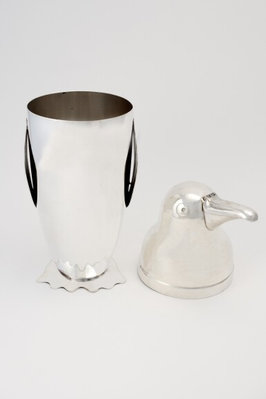 View 2. Thumbnail of Lot 6.  AN AMERICAN SILVER-PLATED PENGUIN-FORM COCKTAIL SHAKER .
