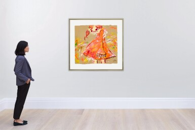 View 4. Thumbnail of Lot 44. Girl in Red Dress   紅裙子女孩.