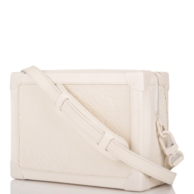 View 5. Thumbnail of Lot 85. Louis Vuitton x Virgil Abloh White Soft Trunk Bag of Taurillion Monogram Leather with White Hardware.