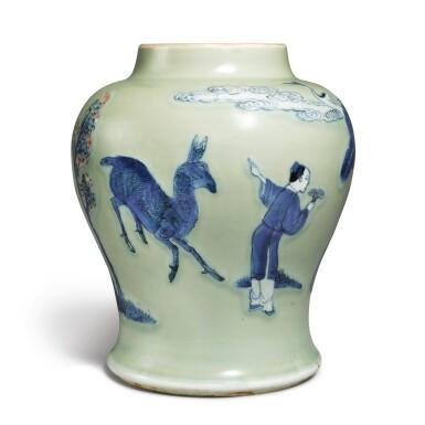 View 2. Thumbnail of Lot 143. An underglaze-blue, copper-red, and celadon-glazed jar, Qing dynasty, Kangxi period   清康熙 豆青地青花釉裏紅松下高士圖罐.