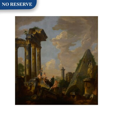 View 1. Thumbnail of Lot 101. An architectural capriccio with a preaching apostle and figures before ruins, including the pyramid of Gaius Cestius, Trajan's column and the arch of Janus .
