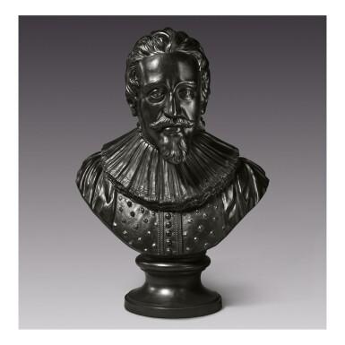 A WEDGWOOD AND BENTLEY VERY LARGE BLACK BASALT BUST OF THE DUTCH JURIST HUGO GROTIUS CIRCA 1775-80