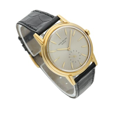 View 3. Thumbnail of Lot 230. Reference 3444  A yellow gold automatic wristwatch, Circa 1961 .