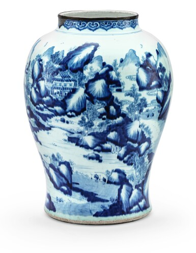RARE GRANDE POTICHE INSCRITE EN PORCELAINE BLEU BLANC DYNASTIE QING, ÉPOQUE KANGXI, DATÉE 1720 | 清康熙 1720年 青花題《醉翁亭记》山水人物圖將軍罐  | A rare large blue and white 'landscape' and inscribed jar, Qing Dynasty, Kangxi period, dated to the gengzi year (in accordance with 1720)