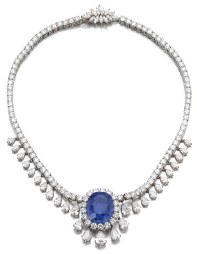 View 1. Thumbnail of Lot 6. SAPPHIRE AND DIAMOND NECKLACE.