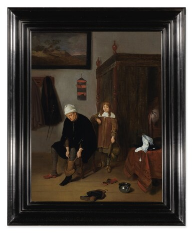 View 3. Thumbnail of Lot 123. QUIRINGH GERRITSZ. VAN BREKELENKAM  |  INTERIOR WITH A GENTLEMAN PULLING ON HIS BOOTS, ATTENDED BY A PAGE.