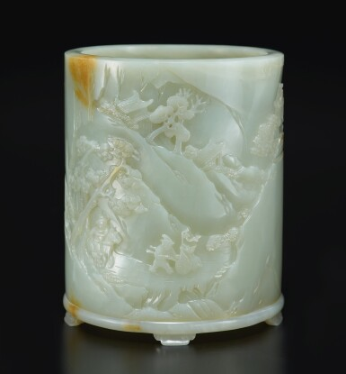 View 2. Thumbnail of Lot 14. An exceptional white and russet jade brushpot, Qing dynasty, Qianlong period   清乾隆 白玉雕進寶圖筆筒.