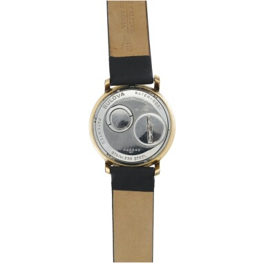 View 4. Thumbnail of Lot 72. BULOVA | ACCUTRON SPACEVIEW A STAINLESS STEEL AND GOLD PLATED ELECTRONIC WRISTWATCH, CIRCA 1960.