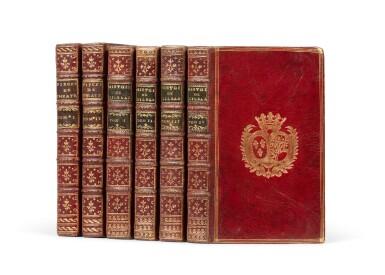 View 1. Thumbnail of Lot 78. Gil Blas. 1747. [Et:] Recueil des pièces... 1739. ensemble de 6 volumes aux armes de la comtesse de Provence..