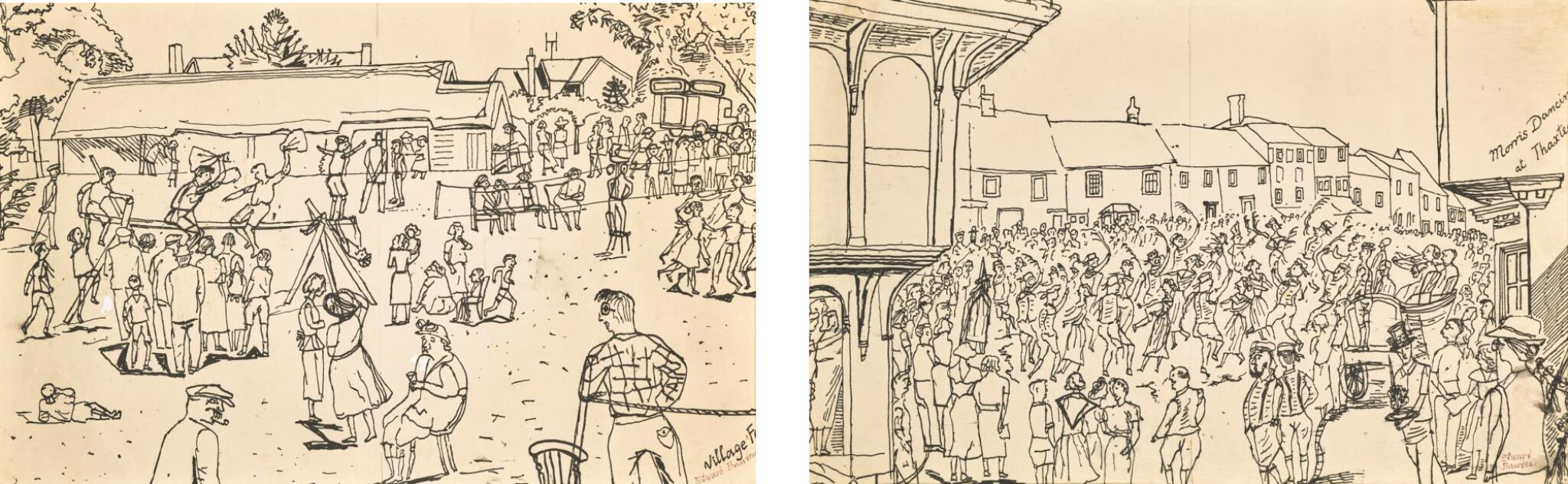 View full screen - View 1 of Lot 35. EDWARD BAWDEN, R.A. | MORRIS DANCING AT THAXTED; VILLAGE FETE.