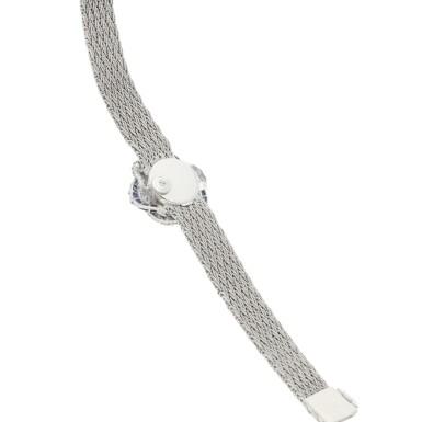 View 3. Thumbnail of Lot 8061. Audemars Piguet | Reference 9566, A white gold, diamond and sapphire-set bracelet watch, Circa 1960 | 愛彼 | 型號9566   白金鑲鑽石及藍寶石鏈帶腕錶,約1960年製.