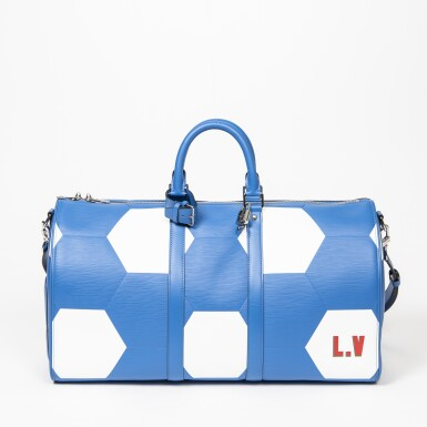 View 1. Thumbnail of Lot 110. Blue and White World Cup 50 Keepall Bandouliere in Apollo Leather with Palladium Brass Hardware, 2018.