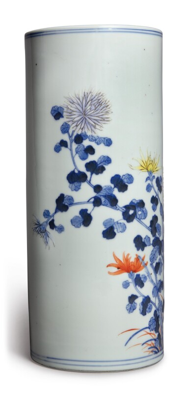 View 2. Thumbnail of Lot 1140. A BLUE AND WHITE AND FAMILLE-ROSE 'CHRYSANTHEMUM' HAT STAND, REPUBLIC PERIOD .