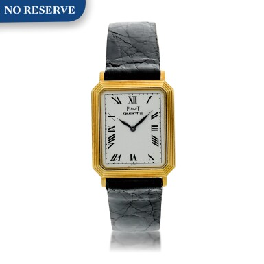 View 1. Thumbnail of Lot 138. Reference 7142 A yellow gold rectangular shaped wristwatch with ridged bezel, Circa 1975.