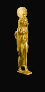 AN EGYPTIAN GOLD AMULET OF SEKHMET, PTOLEMAIC PERIOD, 305-30 B.C.