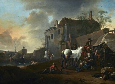 ATTRIBUTED TO PIETER WOUWERMAN | SOLDIERS AND THEIR HORSES RESTING BY RUINS IN A RIVER LANDSCAPE, WITH FIGURES BATHING