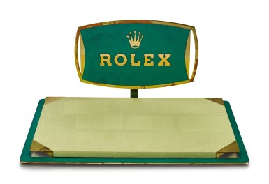 ROLEX | A GILT BRASS AND GREEN ENAMEL RETAILER'S WINDOW DISPLAY, CIRCA 1960