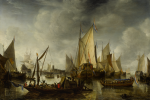 JAN ABRAHAMSZ. BEERSTRATEN | DUTCH SHIPS AT ANCHOR IN A CALM HARBOR, WITH DIGNITARIES IN A BARGE APPROACHING THE ROYAL YACHT OF PRINCE WILLIAM II, AND A FERRY TRANSPORTING A CANNON IN THE FOREGROUND