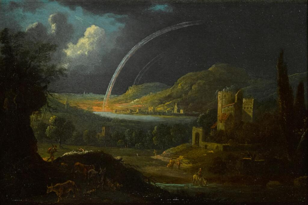 DUTCH SCHOOL, LATE 17TH CENTURY | A landscape by night, with a castle by a lake and two rainbows arching over a distant town