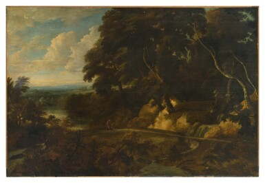 View 2. Thumbnail of Lot 60. An extensive landscape with figures along a path.