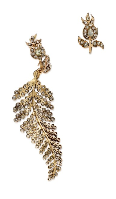 View 5. Thumbnail of Lot 1410. ELIANE FATTAL   'FERN' PAIR OF DIAMOND EARRINGS   Eliane Fattal   'Fern' 鑽石耳環一對.