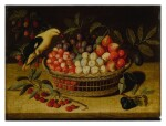 Still life with cherries, plums, raspberries and other fruits in a basket, with a yellow bird