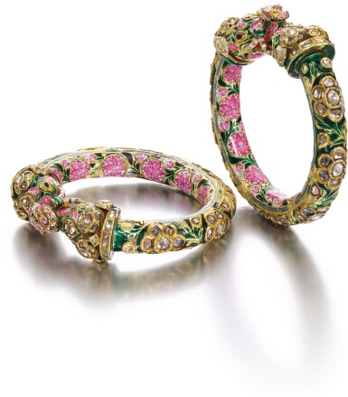 A PAIR OF GEM-SET AND ENAMELLED BRACELETS (KADA), BENARES, NORTH INDIA, 19TH CENTURY