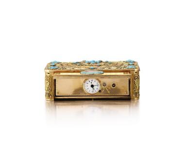"View 6. Thumbnail of Lot 2092. LES FRÈRES ROCHAT   NO 181, A VARI-COLOUR GOLD AND TURQUOISE SINGING BIRD BOX WITH QUARTER REPEATING WATCH, CIRCA 1820   ""NO181 多色黃金鑲綠松石鳥鳴盒子,備大三針及二問鐘錶,約1820年製""."