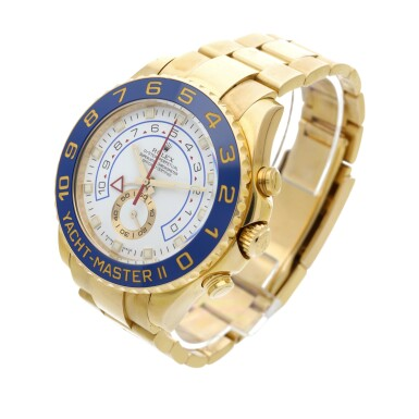 View 2. Thumbnail of Lot 8. Reference 116688 Yacht-Master II A yellow gold automatic regatta chronograph wristwatch with bracelet, Circa 2008 .