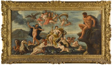 View 5. Thumbnail of Lot 9. CIRCLE OF PAOLO DE' MATTEIS | AN ALLEGORY OF PROSPERITY AND THE ARTS IN THE CITY OF NAPLES; AND TRIUMPH OF GALATEA WITH A VIEW OF MESSINA BEYOND, AND A PORTRAIT OF CHARLES VI (1685-1740), HOLY ROMAN EMPEROR, HELD ALOFT BY VICTORY.
