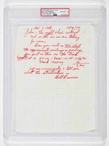 View 4. Thumbnail of Lot 1. Bill Bowerman Handmade Waffle Spike Shoes and Handwritten Note for John Mays.