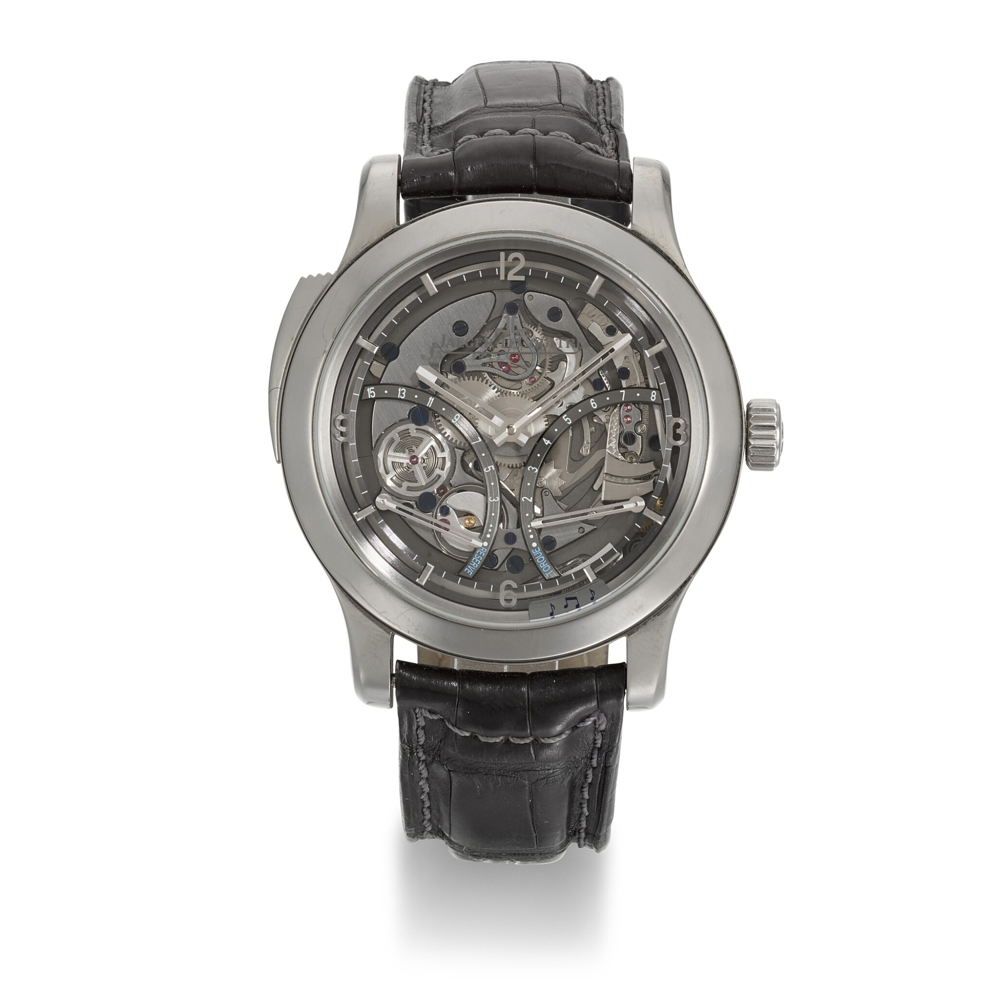 View full screen - View 1 of Lot 353. JAEGER LECOULTRE | MASTER GRANDE TRADITION MINUTE REPEATER, REF 151.T.67.S, LIMITED EDITION TITANIUM SKELETONISED MINUTE REPEATING WRISTWATCH WITH 15-DAY POWER RESERVE AND TORQUE INDICATION, CIRCA 2012.