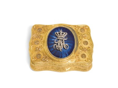 A JEWELLED TWO-COLOUR GOLD AND ENAMEL PRESENTATION SNUFF BOX, CHARLES COLINS & SÖHNE, HANAU, CIRCA 1894