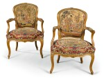 A PAIR OF LOUIS XV CARVED BEECHWOOD FAUTEUILS EN CABRIOLET, CIRCA 1750