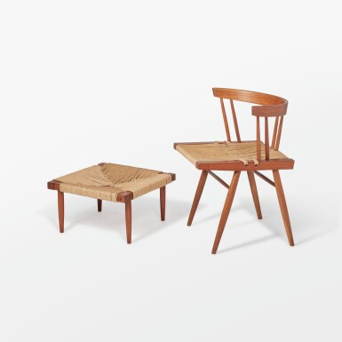 """View 1. Thumbnail of Lot 116. """"Grass Seated"""" Chair and Stool."""