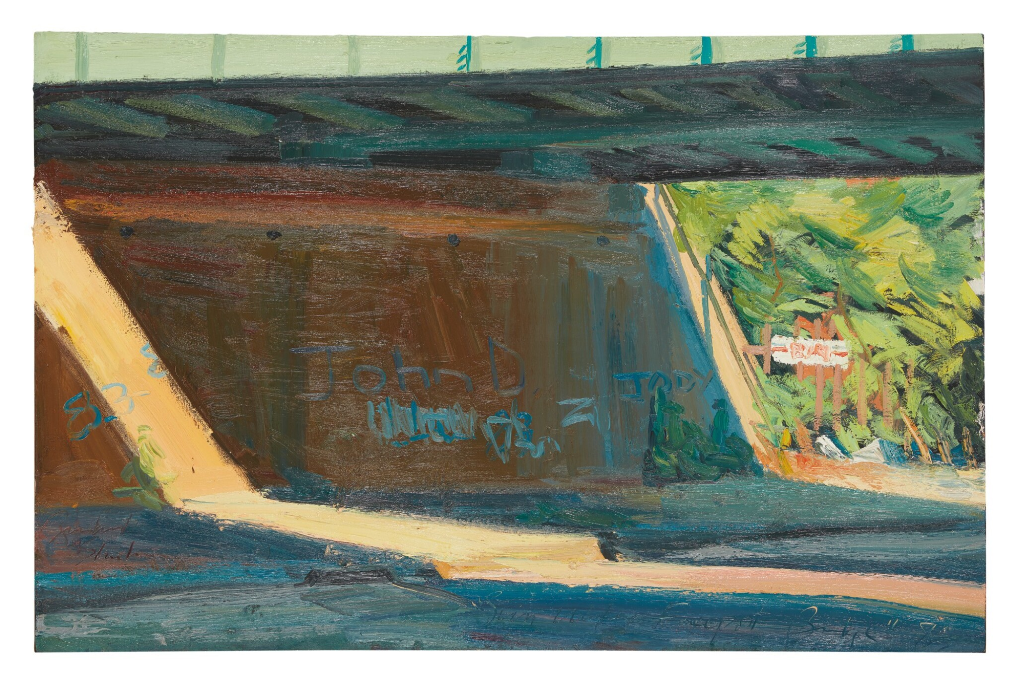 View full screen - View 1 of Lot 584. RICHARD SHEEHAN | SUN UNDER FREEPORT BRIDGE.