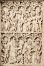 FRENCH, MOSAN OR RHENISH, CIRCA 1360-80 | AN IVORY WRITING TABLET WITH THE CRUCIFIXION AND THE ANNUNCIATION