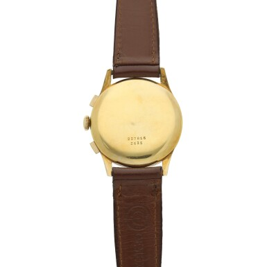 View 5. Thumbnail of Lot 116. Reference 2635  A large yellow gold chronograph wristwatch, Circa 1965 .